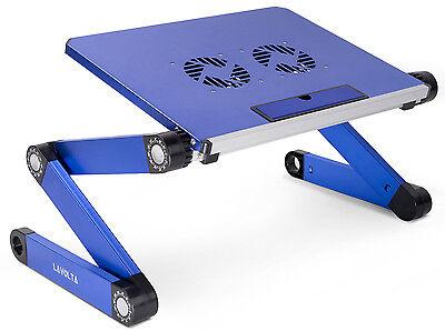 Lavolta® Ständer für DJ Notebook Tisch Laptop 2x Lüfter Notenpult Turntable Blau