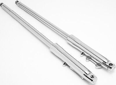 """41mm Ultima Billet Chrome +4"""" Over Stock Fork Assembly for FXST, Smooth Lowers"""