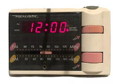 Vintage Realistic Rise'n Shine AM FM Alarm Clock Radio cat. no. 12-1569 Tested