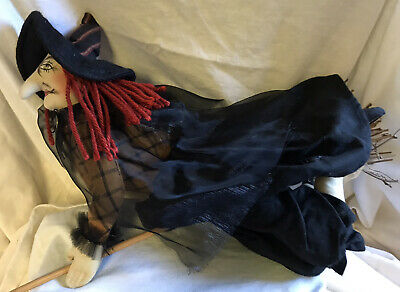 "VINTAGE PRIMITIVE HAND MADE FLYING WITCH DOLL ON BROOM HALLOWEEN 14"" LONG"