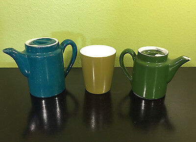 2 Vintage Hall Pottery Ceramic Personal One Cup Teapots Dark Green / Blue +1 Cup