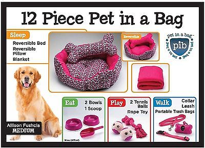 Allison Fuchsia Set gift Dog Bed pillow, blanket bowls scoop Collar Leash Waste