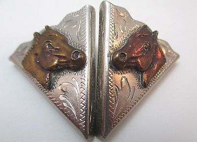 ALPACA MEXICO  2-TONE COLLAR TIPS RAISED HORSE HEADS & ETCHED DESIGN **