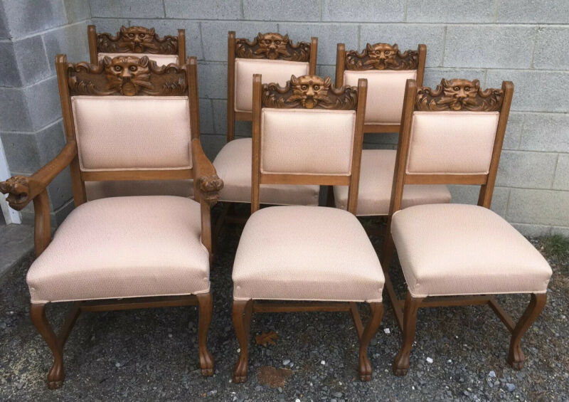 CARVED SET OF 6 OAK DINING CHAIRS