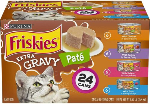Purina Friskies Pate Wet Cat Food Variety Pack, Extra Gravy Pate  24 Can