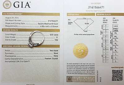 0.77 ct 14K White Gold Princess Cut Diamond Engagement Ring GIA G / VS2 6