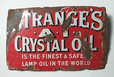 Vintage Enamel Sign - STRANGE'S A1 CRYSTAL OIL