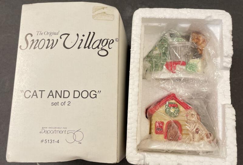 "Dept 56 Snow Village ""Cat and Dog"" #5131-4 Set of 2"