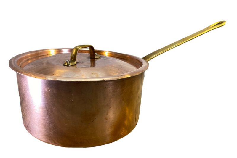 Vintage Made in France Copper Sauce Pan Pot With Lid Riveted Brass Handle