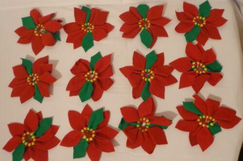 VINTAGE POINSETTIA NAPKIN RING LOT 12 FELT FABRIC BEAD CHRISTMAS TABLE DECOR