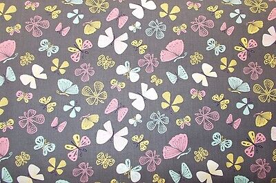 Brown Mint Pink Butterflies Fabric Camelot Quilting Cotton Fabric By the Yard