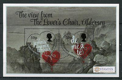 Alderney 2018 MNH Valentines Lover's Chair Spring Stampex 2v M/S Hearts Stamps