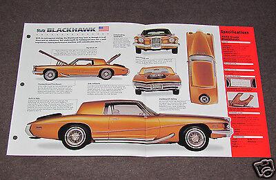 1972 STUTZ BLACKHAWK Car SPEC SHEET BROCHURE PHOTO BOOKLET ()