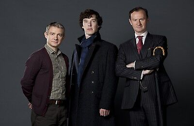"BBC TV SHERLOCK UK Imported 17"" X 11"" Poster Print - Holmes, Watson, and Mycroft"