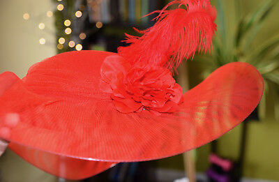 Edwardian Halloween Costume (Victorian Edwardian Vintage Style Hat Red Halloween Cosplay Costume)