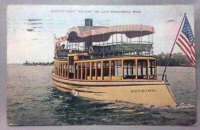 1910 Express Boat STEAMER Hopkins LAKE MINNETONKA Minn Postcard TWIN CITY LINES