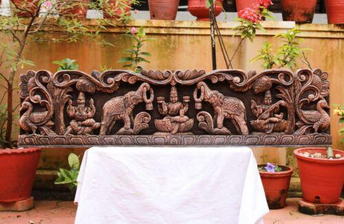 Antique Lakshmi Wall Panel Ganesh Statue Hindu Goddess Saraswati Sculpture Rare