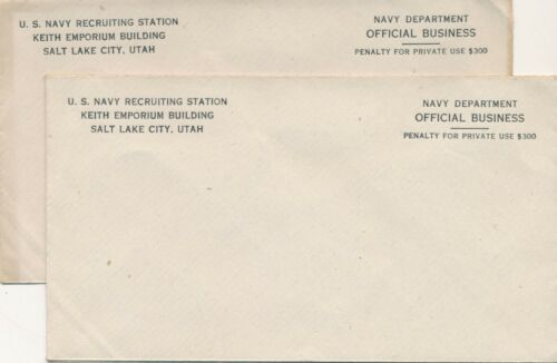 2 Vintage U. S. Navy Recruiting Station, Salt Lake City, Utah Envelopes, Unused