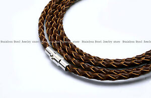Mens-Stainless-Steel-Leather-Necklace-Chain-Link-For-Dog-Tag-Pendant-3mm-O-Brown