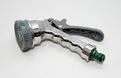 6 Function Chrome Metal Garden Hose Spray Nozzle Gun Water Sprayer Hoselock 0306