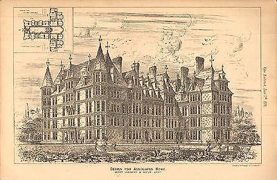 1876 ANTIQUE ARCHITECTURAL PRINT- DESIGN FOR ASSOCIATED HOME