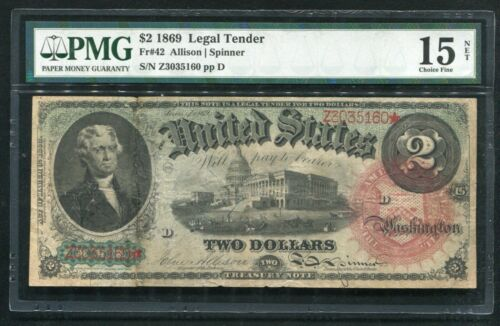 """FR. 42 1869 $2 TWO DOLLARS """"RAINBOW"""" LEGAL TENDER UNITED STATES NOTE PMG FINE-15"""