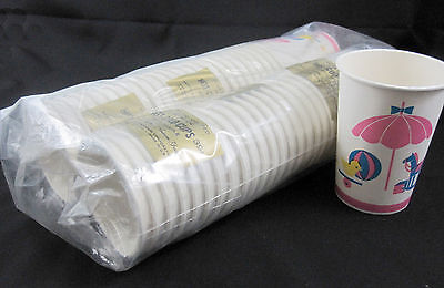 Paper Cups With Handles (Baby Shower 48 Vintage 1960s Paper Cups with Handles Unused New Old Stock)
