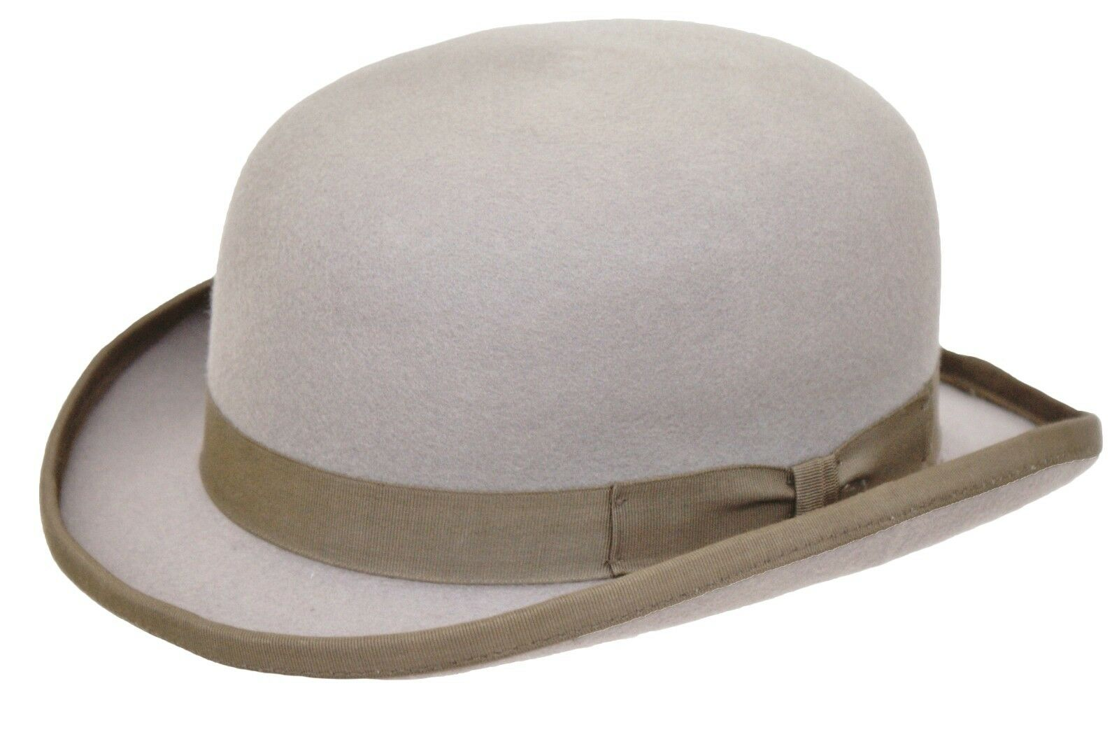 High Quality GREY Hard Top 100% Wool Bowler Hat - Satin Lined bf1aff81871c