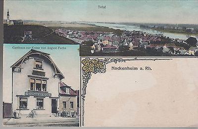AK Nackenheim a.Rh.. um 1910 Mit Gasthaus zur Krone. Lithographie.