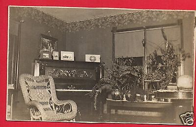 RPPC HAINES & CO CABINET GRAND PIANO WICKER ROCKING CHAIR FERNS POTS NIGHT PHOTO Grand Wicker Rocking Chair