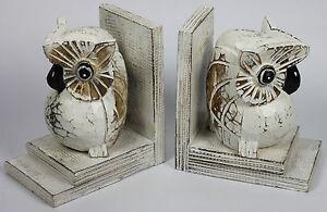 Handmade Carved Wooden Owl Bookends Set