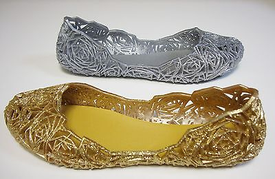 Silver Gold Glitter Jelly Jellies Round Toe Ballet Flats Slippers Shoes