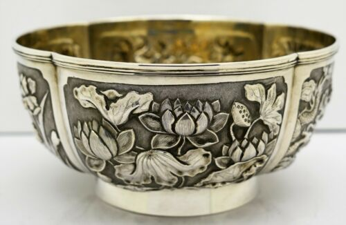 CHINESE EXPORT solid silver 4 PANEL BOWL. Sunflowers, Lily pads. WOSHING c.1890