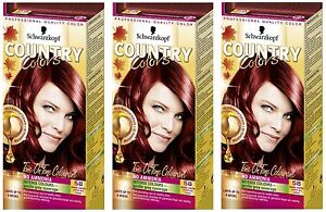 Schwarzkopf Country Colours 58 Grand Canyon Copper Red Hair Colouring Dye X3