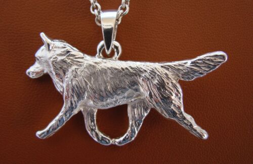 Large Sterling Silver Siberian Husky Moving Study Pendant