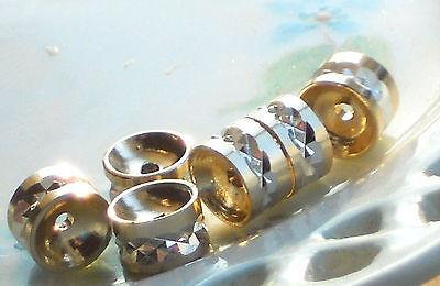 Vintage Spacer - Vintage Spacer Beads, Rhinestone Look gold Plated Cut Silver Spacers NOS #366