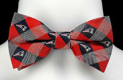 New England Patriots Mens Bow Tie Adjustable NFL Football Fan Checks Blue Bowtie (Patriotic Bow Ties)