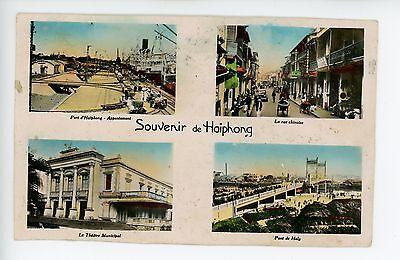 HAIPHONG Vietnam Multiview RPPC Rare Photo Port Chinese Street 1930s