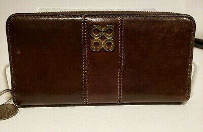 Coach Continental Wallet Thick Brown Leather Zip Around Large