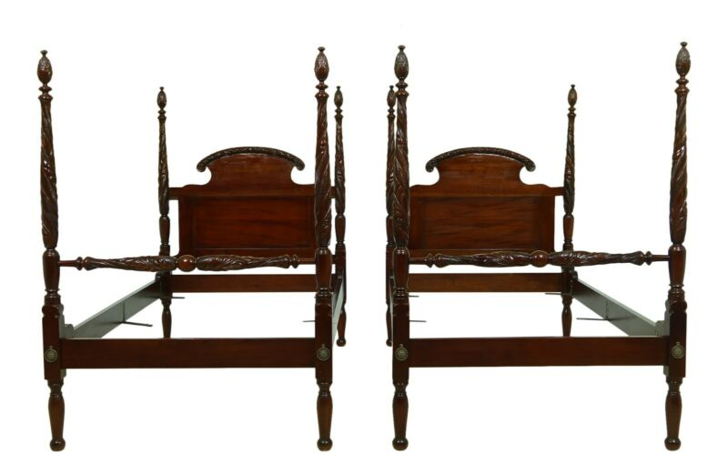 F52098EC: Pair Antique Carved Mahogany Twin Size Poster Beds