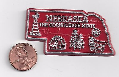"NEBRASKA   "" THE CORN HUSKER STATE""   NE OUTLINE MAP MAGNET, NEW"