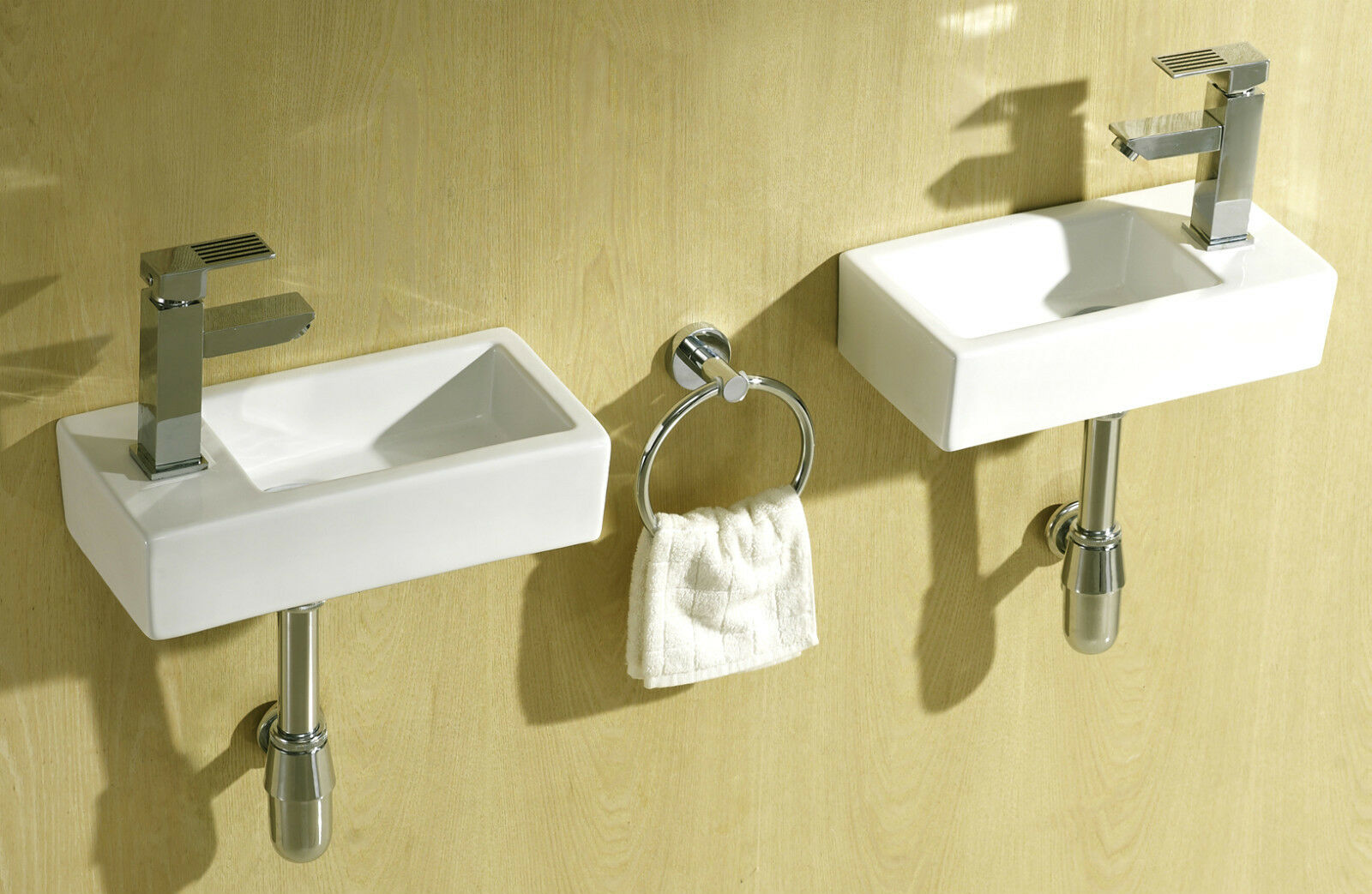 Small compact square rectangle cloakroom basin bathroom sink wall hung 375 x 185 ebay - Slim cloakroom basin ...