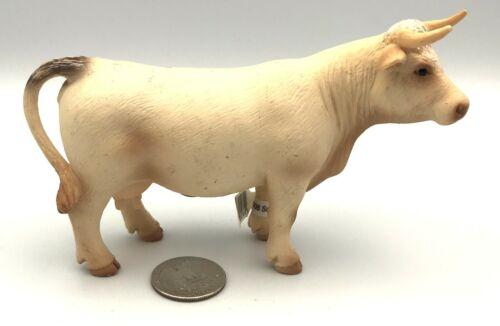 Schleich CHAROLAIS COW White Dairy Farm Figure 2005 Retired 13610 w/Tag