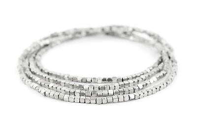 Rounded Silver Cube Beads 3mm White Metal Large Hole 24 Inch Strand ()