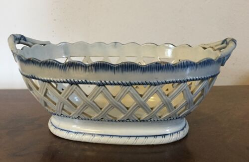 Antique Creamware Chestnut Basket Centerpiece Bowl Blue Leeds Feather Edge 19th