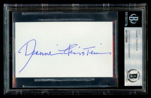Dianne Feinstein signed autograph 2x3.5 cut United States Senator BAS Slabbed