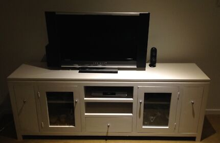 White TV cabinet with glass cupboards and DVD stacker West Perth Perth City Preview