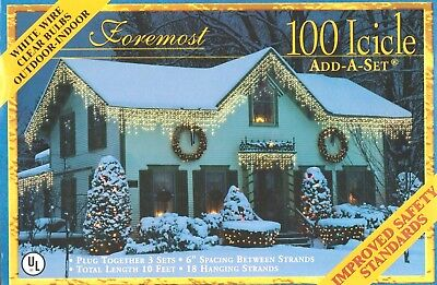 Foremost 100 Icicle Add-A-Set White Wire Clear Bulbs Outdoor-Indoor