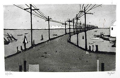 Otto Eglau 1917 Berlin / Radierung ,handsigniert / Inselstraße Afrika / 1960