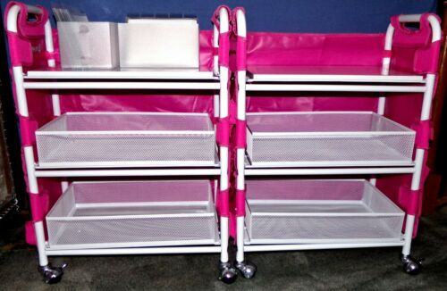 Totally Tiffany 2 New Craft Carts w/ 2 Totally Tiffany Aprons 2 Die Storage Boxs
